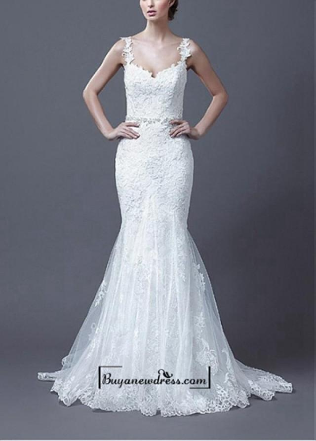 wedding photo - Amazing Tulle & Satin Mermaid Spaghetti Straps Natural Waist Beaded Lace Appliques Wedding Dress