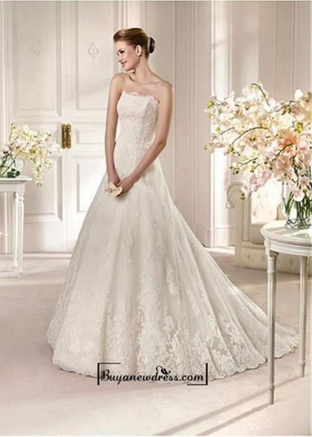 wedding photo - Alluring Satin&Tulle A-line Bateau Neckline Natural Waistline Wedding Dress