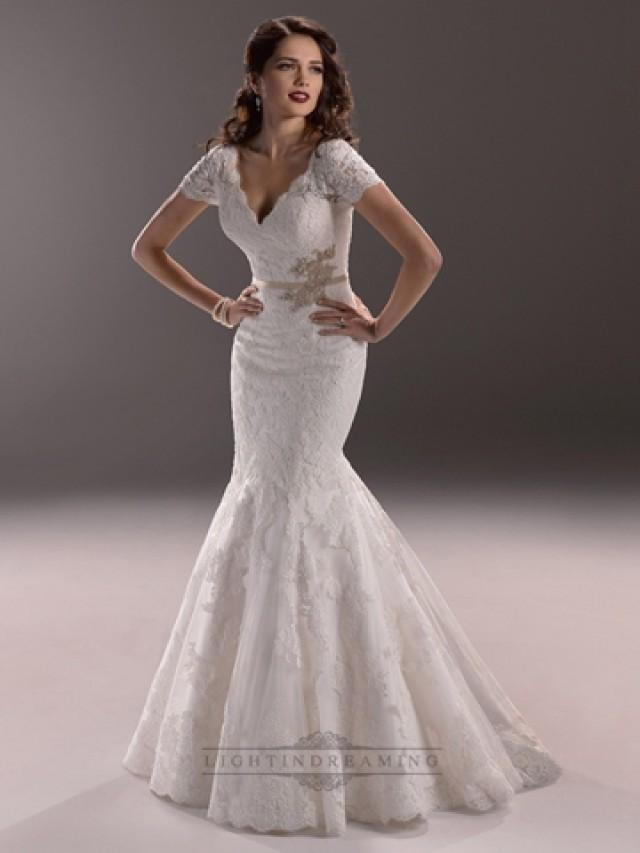 wedding photo - Elegant Plunging V-neck Short Sleeves Mermaid Open Back Wedding Dress