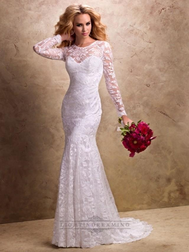 wedding photo - Fit and Flare Long Sleeves Sheer Wedding Dress with Sweetheart Neckline