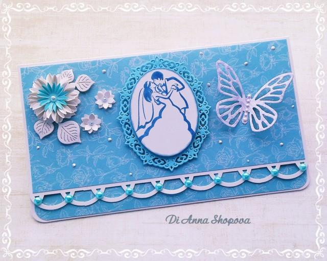 Wedding Card Handmade, Blue Wedding Card, Wedding Gift Card, Money ...