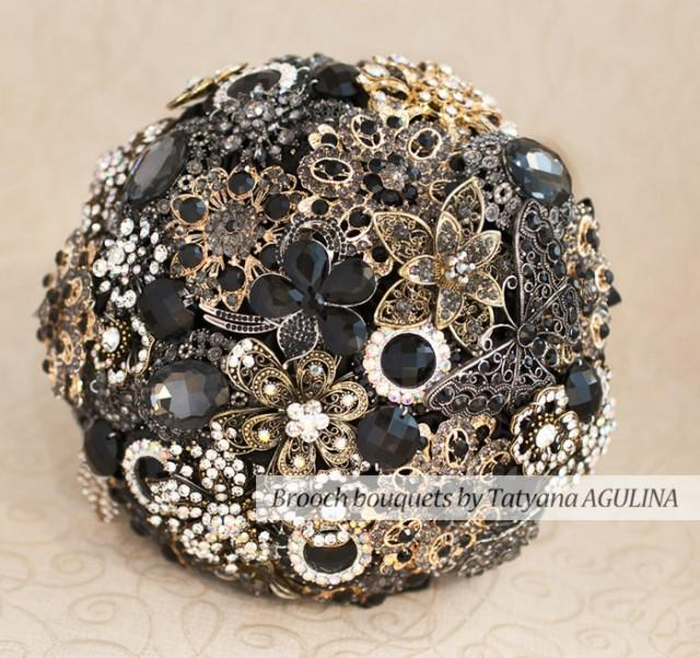 Brooch Bouquet Black And Gold Wedding Brooch Bouquet Jeweled Bouquet Made Upon Request