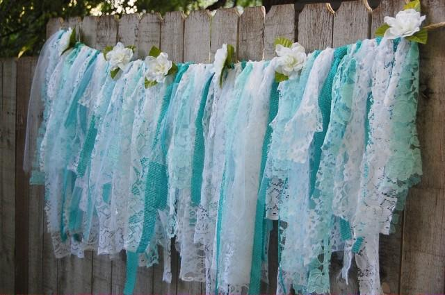 Lace rag banner aqua white rustic shabby chic boho for Shabby chic garland lights