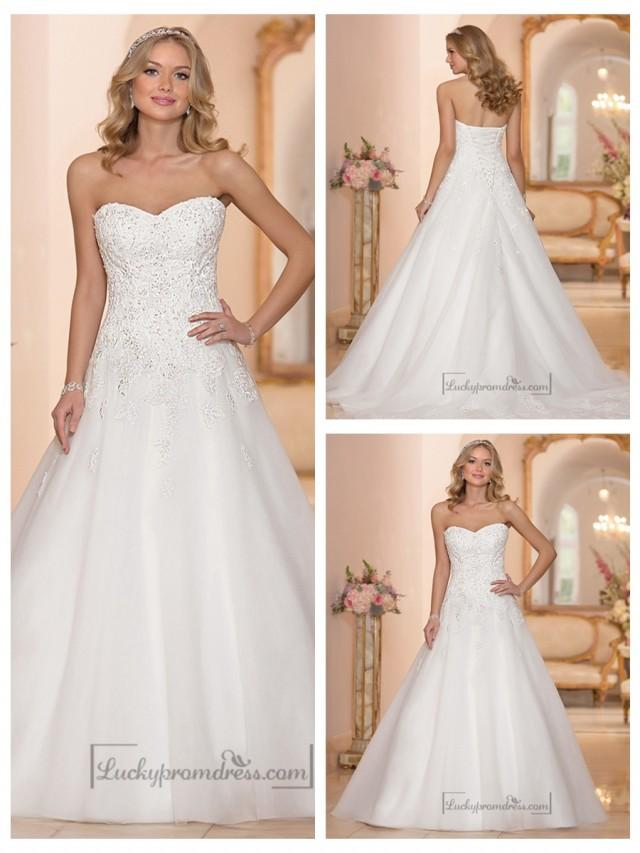 Strapless sweetheart embellished lace bodice a line for Strapless a line wedding dress
