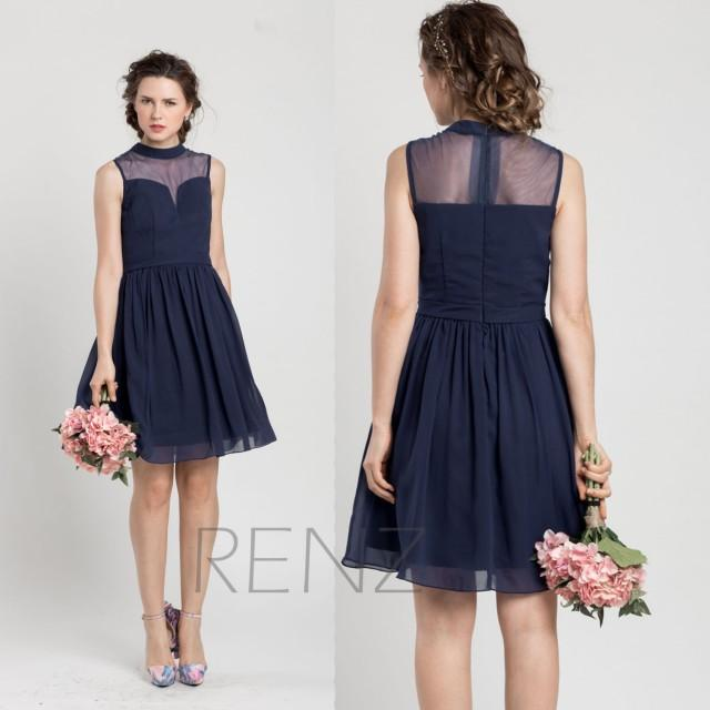 2015 navy blue bridesmaid dress short cocktail dress for Wedding cocktail party dresses