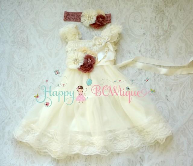 wedding photo - Flower girl dress- Lace Flower Girl Dress, Wedding Flower girl - Ivory Rose Chiffon Lace Dress set,Rustic dress,Ivory Dress,Baby Girls Dress