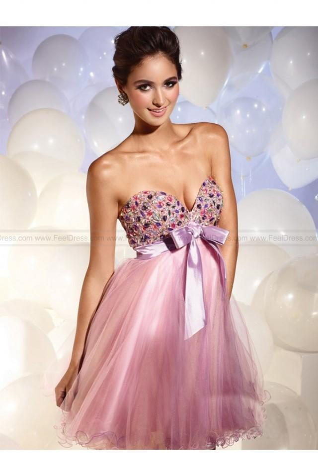 wedding photo - A-Line Strapless Sleeveless Rhinestone Net Cocktail Dresses / Homecoming Dresses