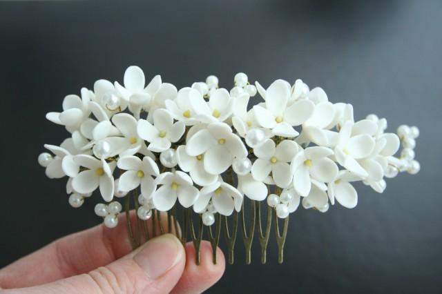 wedding photo - White lilac comb, Bridal hair comb, Bridal flower comb, Wedding flower comb, Bridal pearl comb, Bridal hair accessory, Decorative comb