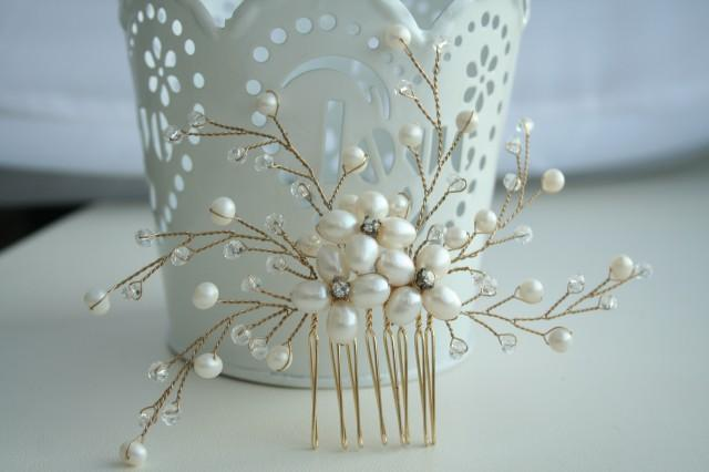 wedding photo - Pearl Comb, wedding pearl comb, bridal hair comb pearl, bridal hair accessories, bridal pearl comb, bridal pearl headpiece, Gold bridal comb