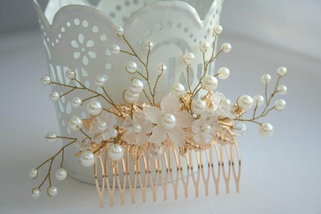 wedding photo - Bridal flower comb. Bridal Hair flower. Bridal pearl comb. Bridal hair accessory. Bridal leaf headpiece, Bridal leaf comb, gold leaf hair
