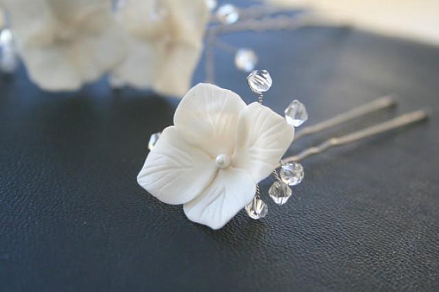wedding photo - White Hydrangea Bridal Hair Pins set, Bridal Flower Hair Pin, Crystals Bridal Hair pin, Bridal hair flower, Flower pin, Wedding Hair Pins