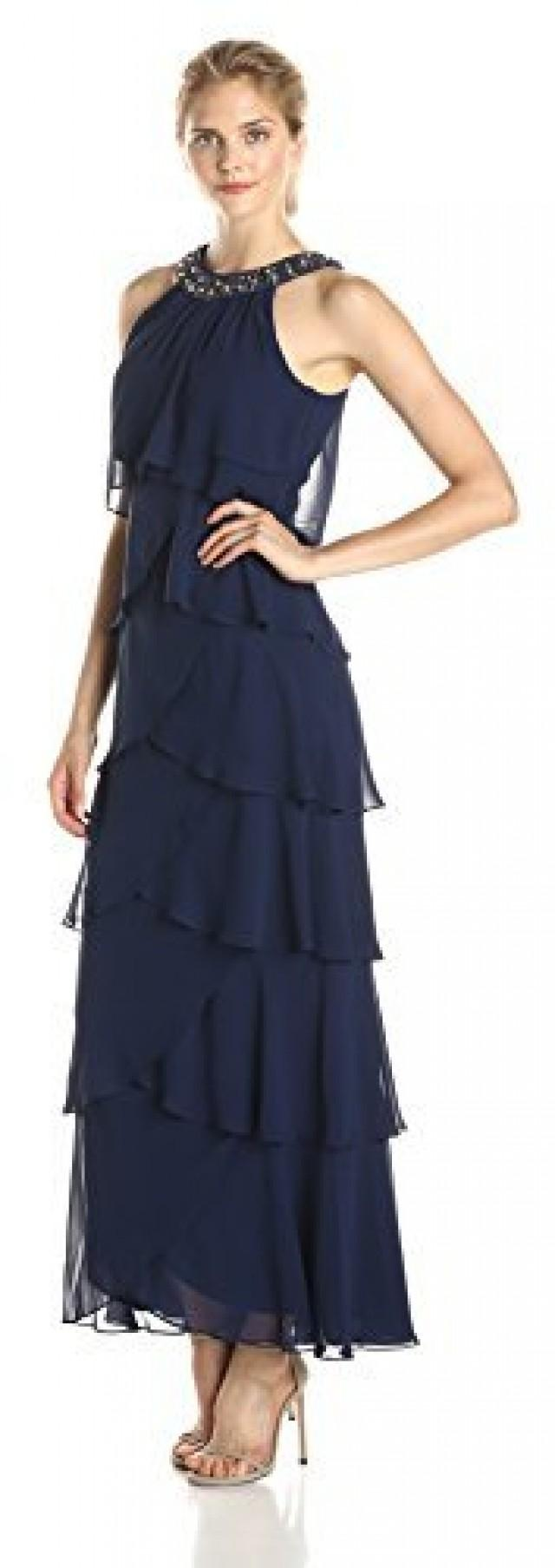 Sl sl fashion dresses - S L Fashions Women S Beaded Neck Long Tiered Chiffon 2447256 Weddbook