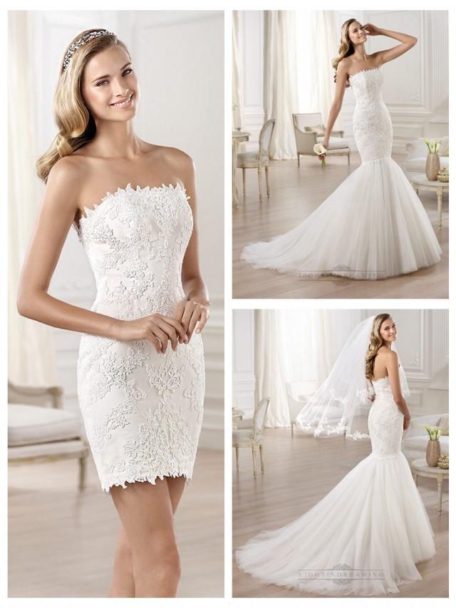 wedding photo - Strapless Mermaid Wedding Dresses Featuring Applique Crystal