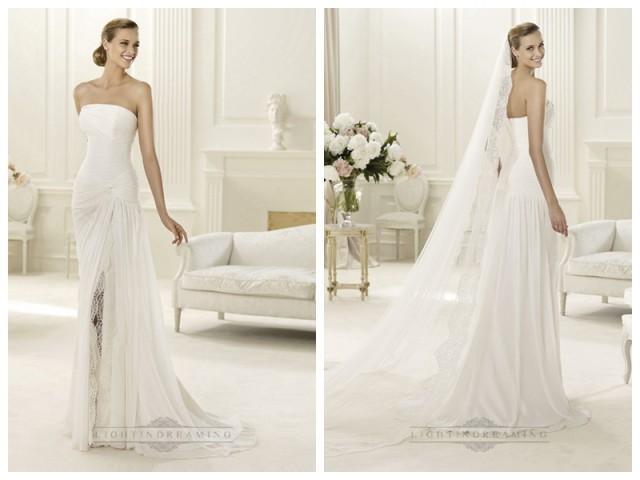 wedding photo - 2014 Charming Flattered Strapless Draped Wedding Dresses with Split Skirt