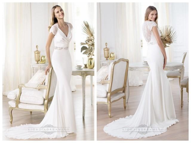 wedding photo - Elegant Short Sleeves Plunging V-neck Mermaid Illusion Back Wedding Dresses Featuring Crystal
