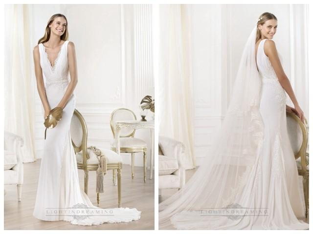 wedding photo - Gorgeous V-neck And V-back Mermaid Wedding Dresses Featuring Applique