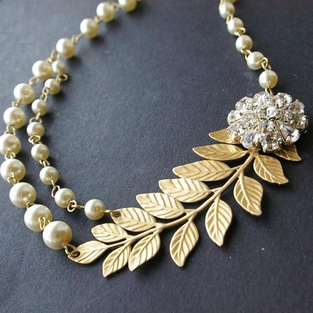 Gold Bridal Necklace Gold Leaves Wedding Necklace