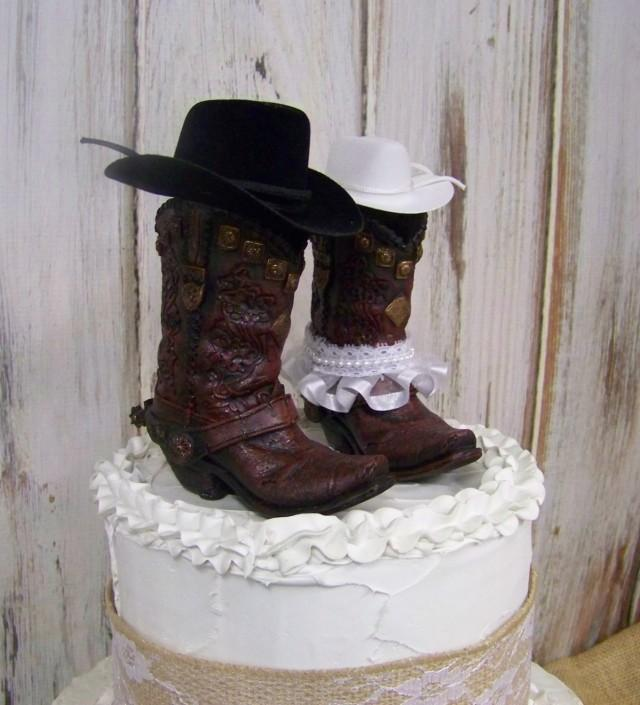 Rustic Cake Topper His And Her Western Cowboy Boots