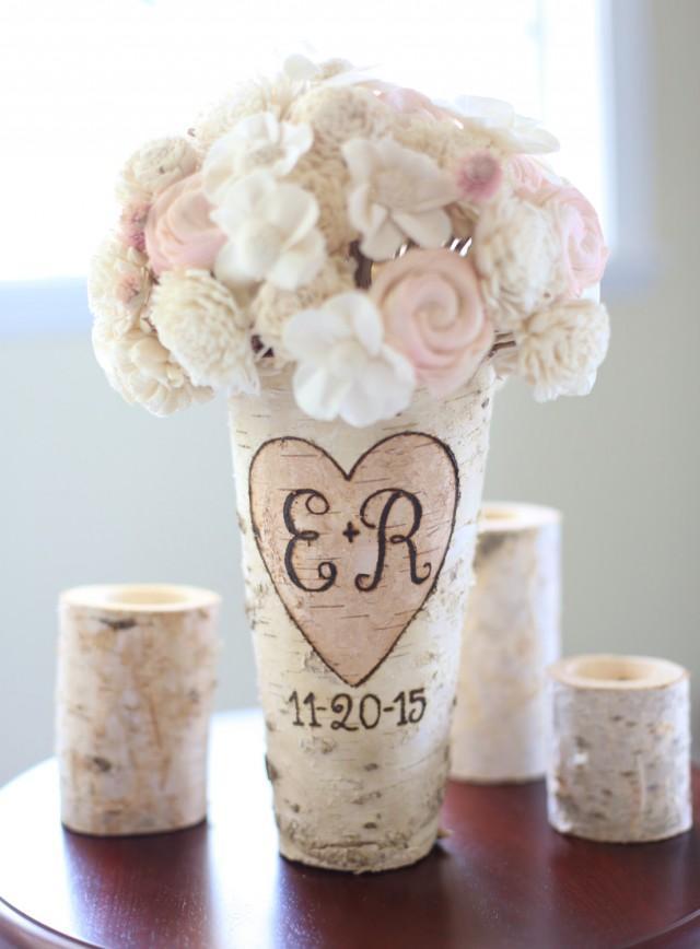 Personalized birch vase rustic custom wedding bridal Wedding dress vase