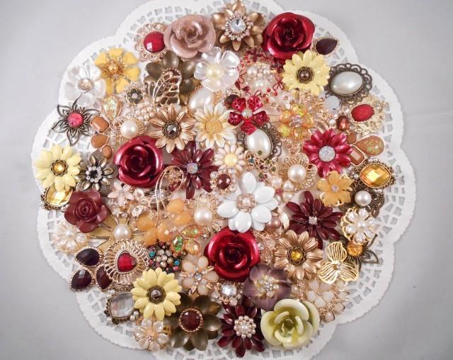 Enamel Flower Brooch Bouquet Kit 65 Pc Autumn Mist Diy Wedding Flowers Red Burgundy Gold Brown Yellow 2448781 Weddbook