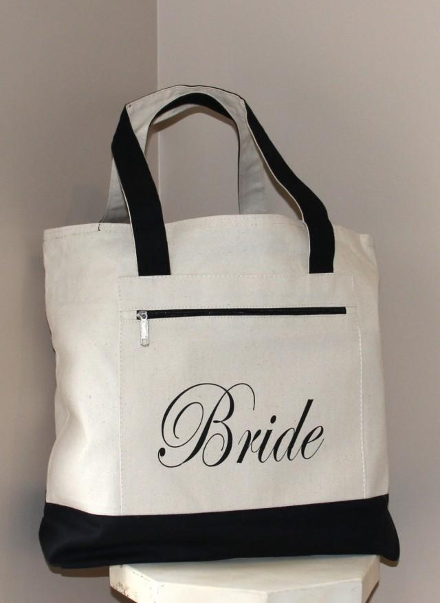 Bride Bag Heavy Canvas Zippered Tote Bag Bridal Shower Gift Bachelorette Party Engagement