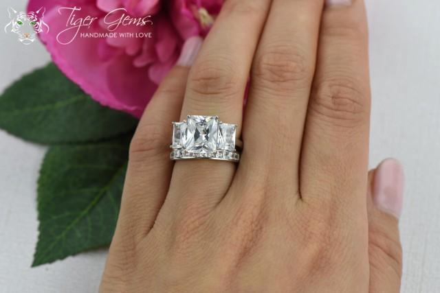 Three Stone Wedding Ring Set 6 Ctw 3 Stone Radiant And Princess Cuts 3 Stone Bridal
