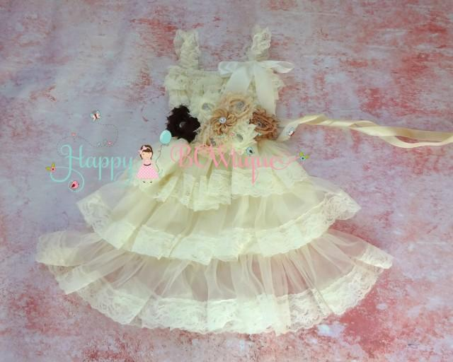 wedding photo - Flower girls dress- Ivory Petti Skirt Lace dress, Burlap wedding dress, Ivory dress,Girls dressrustic wedding dress, Country wedding dress