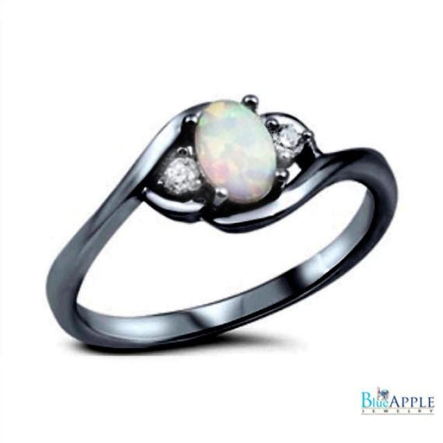 oval cut white opal ring black gold solid 925 sterling