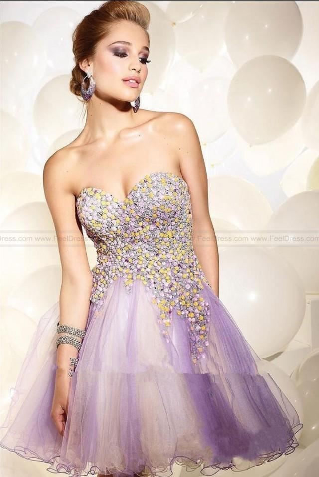 wedding photo - Ball Gown A-line Sweetheart Strapless Tulle Cocktail Dress