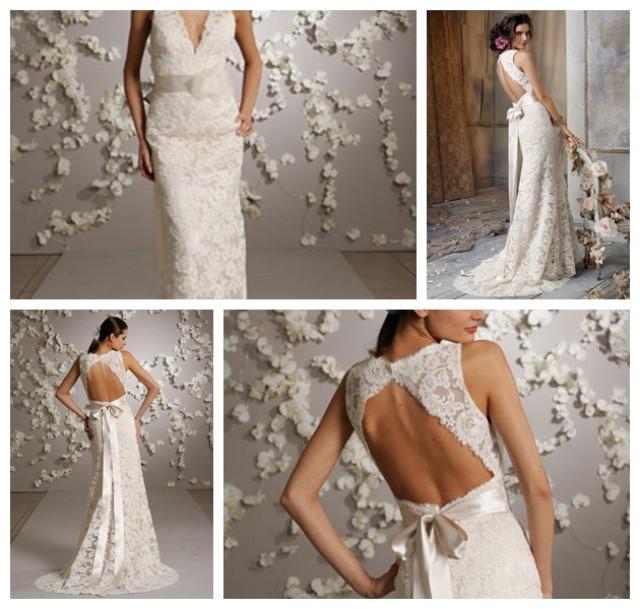 Deep V Open Back Wedding Dress 49