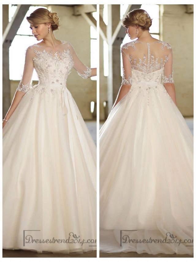 Illusion boat neckline three quarter sleeves embellished for Wedding dresses with three quarter length sleeves