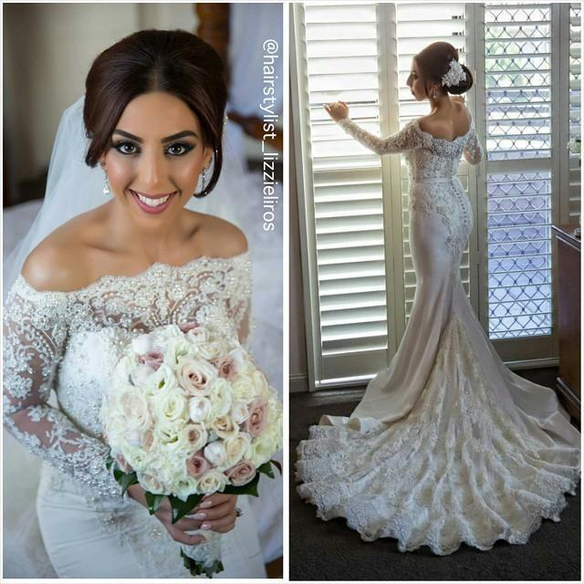 wedding photo - 2016 Luxury Mermaid Trumpet Full Lace Satin Wedding Dresses Long Sleeves Covered Button Chapel Train Fall Bridal Gownshttp://www.dhgate.com/product/2016-luxury-mermaid-trumpet-full-lace-satin/373256499.html