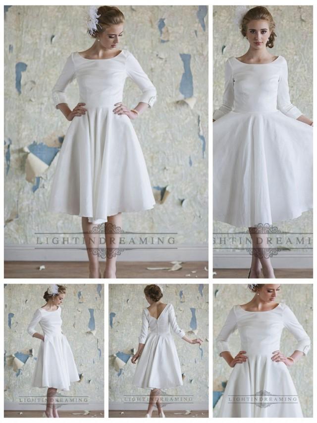 wedding photo - Classic Vintage A-line 3/4 Length Sleeves Tea Length Wedding Dresses