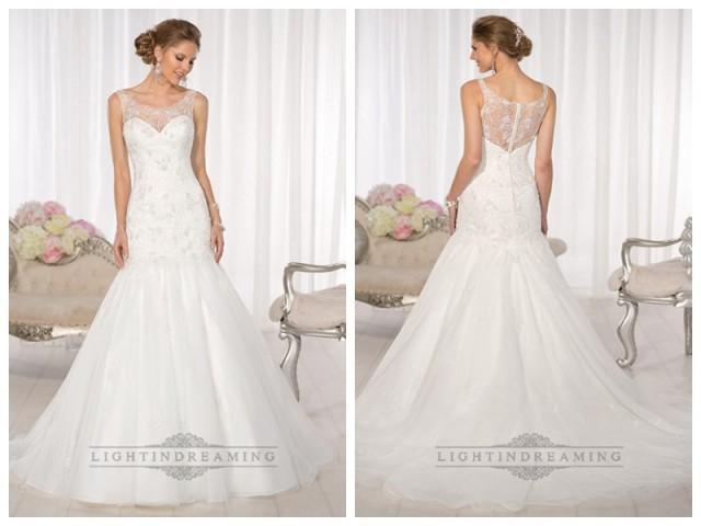 wedding photo - Mermaid Lace Applliques Illusion Bateau Neckline and Back Vintage Wedding Dresses