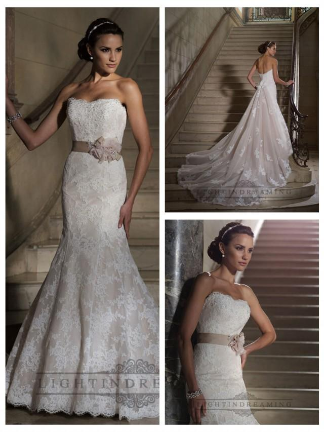 wedding photo - Strapless Mermaid Scalloped Back Lace Appliques Wedding Dresses