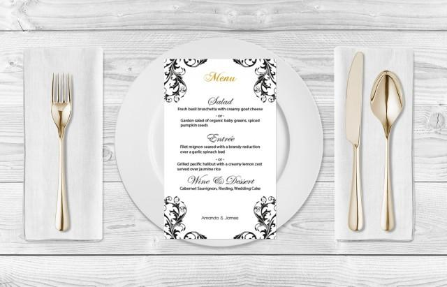 wedding photo - Wedding Menu Template - Black Damask Flourish Menu Card Template