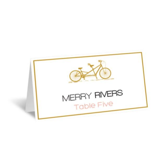 wedding photo - Gold Tandem Bike Wedding Place Cards Editable PDF Template