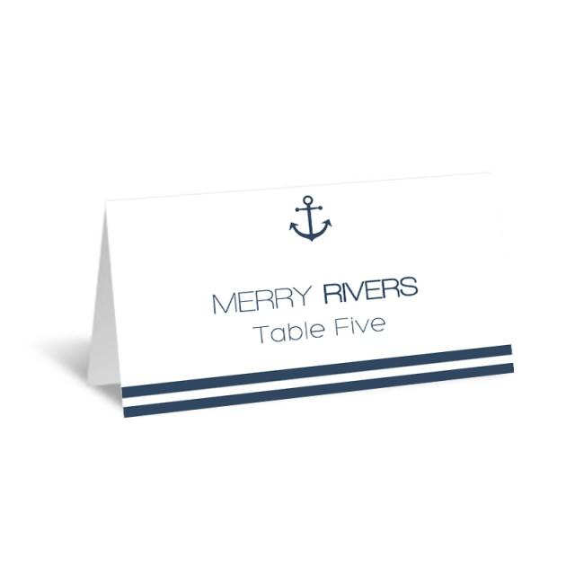 wedding photo - Nautical Wedding Place Card Template Foldover Navy Anchor Striped