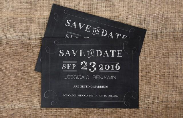 wedding photo - Chalkboard Handlettered Typography Save-the-Date