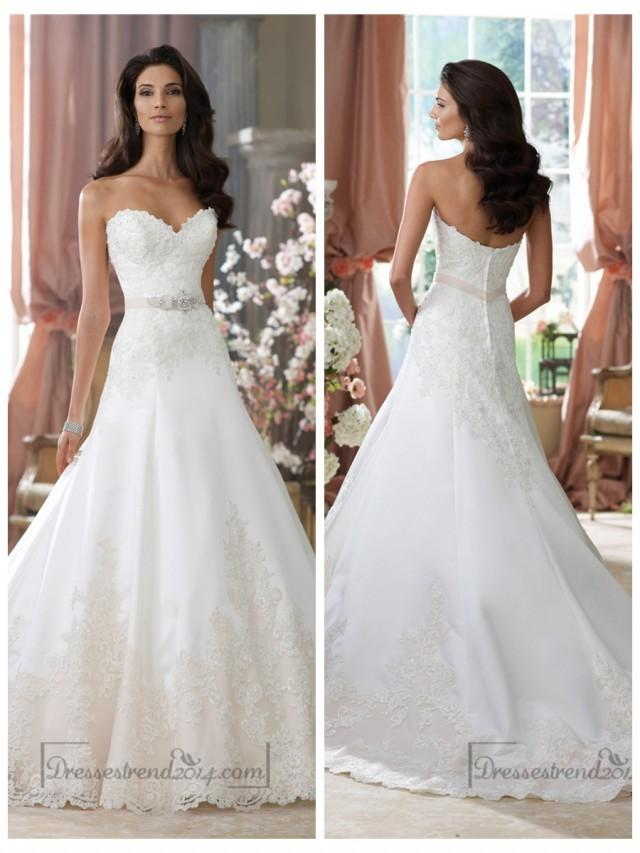 wedding photo - Strapless Sweetheart A-line Lace Appliques Wedding Dresses