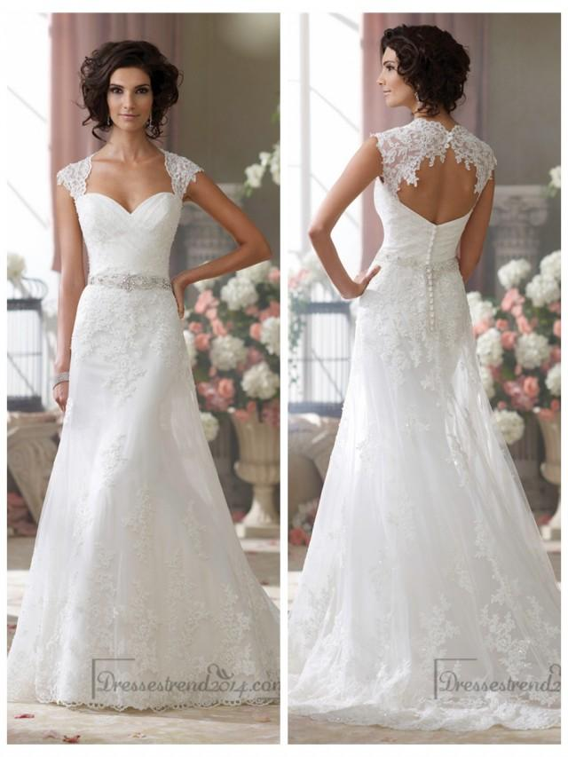 Cap sleeves slim a line sweetheart lace appliques wedding for Long sleeve slim wedding dresses