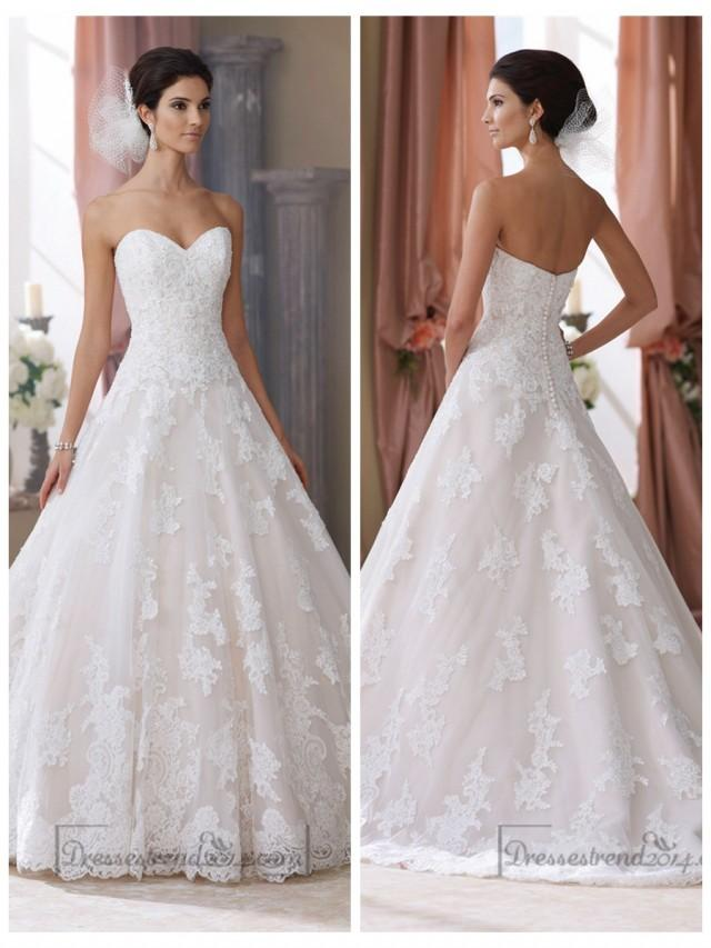 wedding photo - Strapless Sweetheart Lace Appliques Ball Gown Wedding Dresses