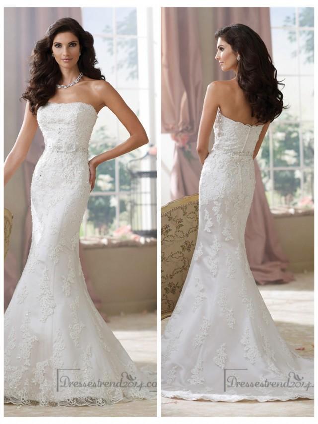 wedding photo - Strapless Lace Appliques Mermaid Wedding Dresses