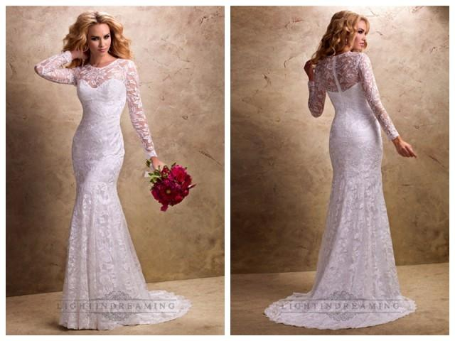 Fit And Flare Long Sleeves Sheer Wedding Dresses With Sweetheart Neckline 24