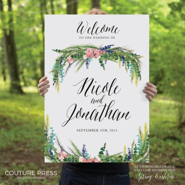 Printable Wedding Welcome Sign, Watercolor Spring Wisteria