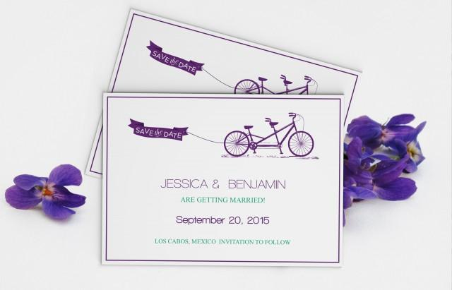 wedding photo - Eggplant Purple Tandem Bike Save the Date Wedding Editable PDF Templates
