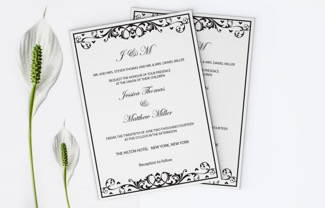 wedding photo - Black Flourish & Heart Printable Wedding Invitation Editable PDF Templates