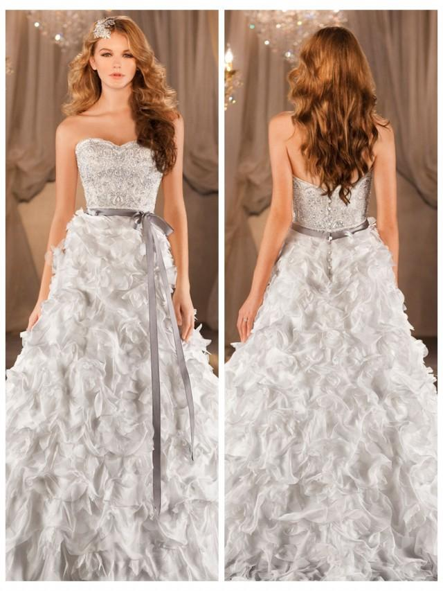 wedding photo - A-line Sweetheart Beading Bodice Wedding Dress with Dramatic Textural Skirt