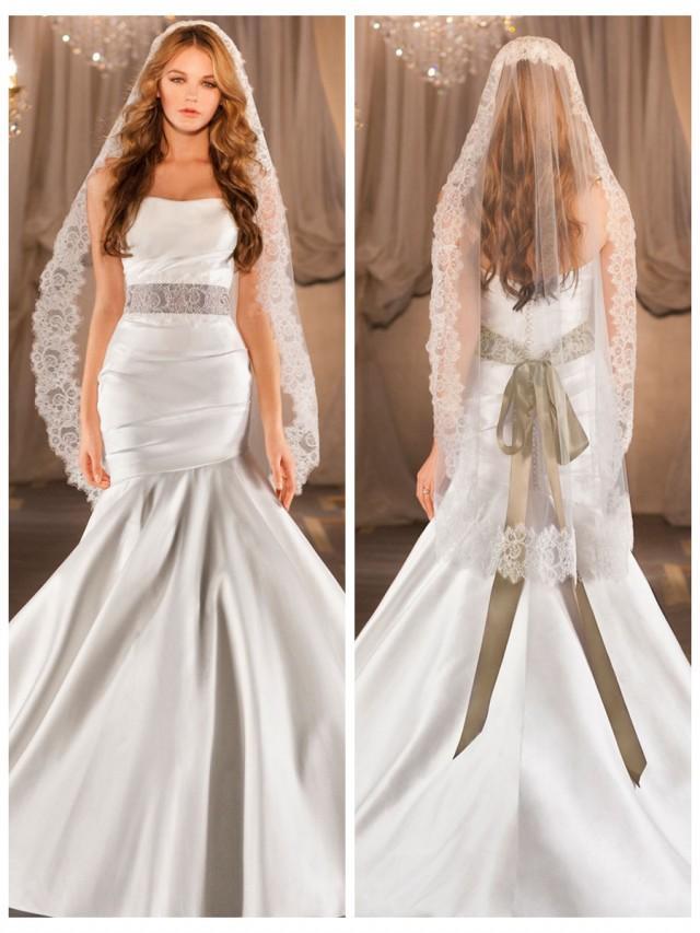 wedding photo - Elegant Ruched Fit Flare Wedding Dress with Asymmetrical Dropped Waist Circular Skirt