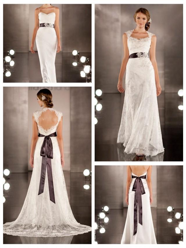 wedding photo - Luxurious Sheath Wedding Dress Overlay Lace Illusion Neckline and Keyhole Back